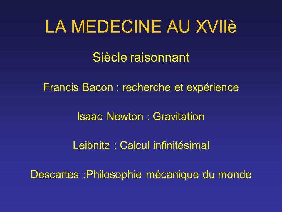 LA MEDECINE AU XVIIè Siècle raisonnant Francis Bacon : recherche et expérience Isaac Newton : Gravitation Leibnitz : Calcul infinitésimal Descartes :P