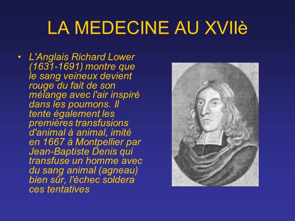 LA MEDECINE AU XVIIè L'Anglais Richard Lower (1631-1691) montre que le sang veineux devient rouge du fait de son mélange avec l'air inspiré dans les p