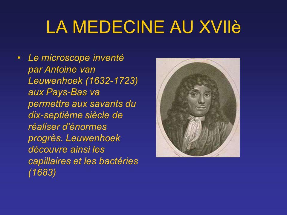 LA MEDECINE AU XVIIè Le microscope inventé par Antoine van Leuwenhoek (1632-1723) aux Pays-Bas va permettre aux savants du dix-septième siècle de réal