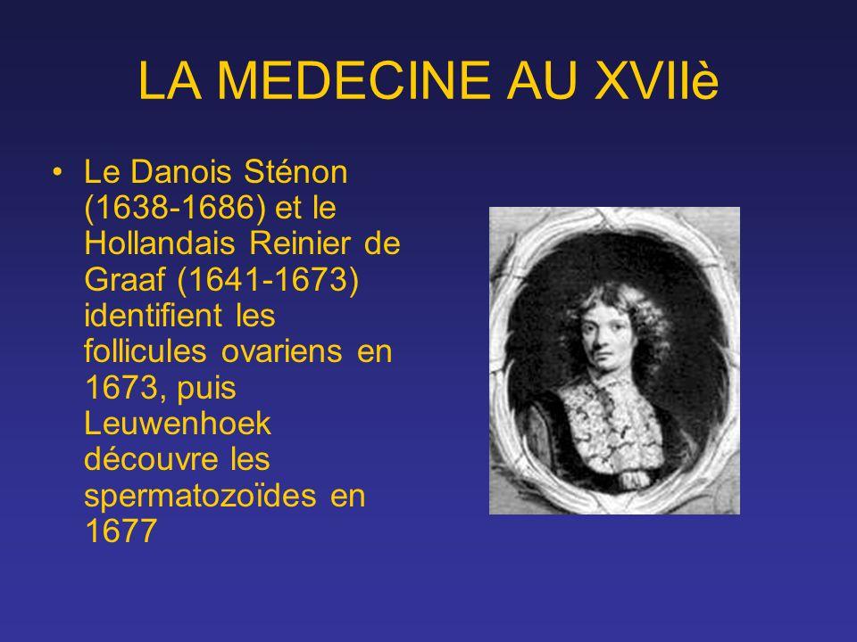 LA MEDECINE AU XVIIè Le Danois Sténon (1638-1686) et le Hollandais Reinier de Graaf (1641-1673) identifient les follicules ovariens en 1673, puis Leuw
