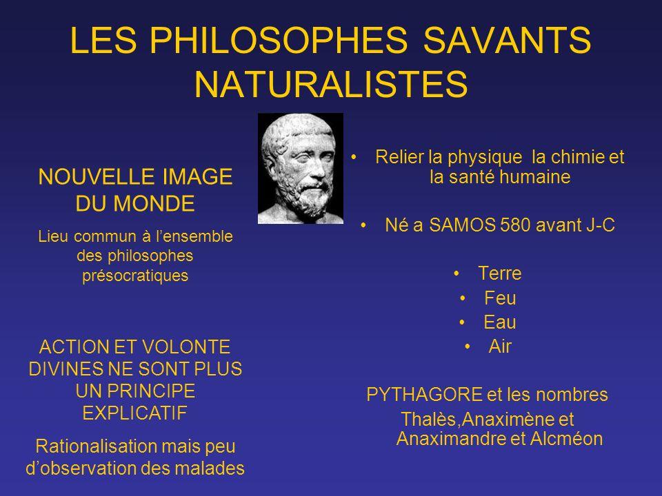 LES PHILOSOPHES SAVANTS NATURALISTES Relier la physique la chimie et la santé humaine Né a SAMOS 580 avant J-C Terre Feu Eau Air PYTHAGORE et les nomb