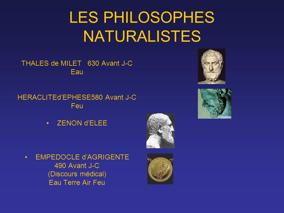 LES PHILOSOPHES NATURALISTES THALES de MILET 630 Avant J-C Eau HERACLITEdEPHESE580 Avant J-C Feu ZENON dELEE EMPEDOCLE dAGRIGENTE 490 Avant J-C (Disco