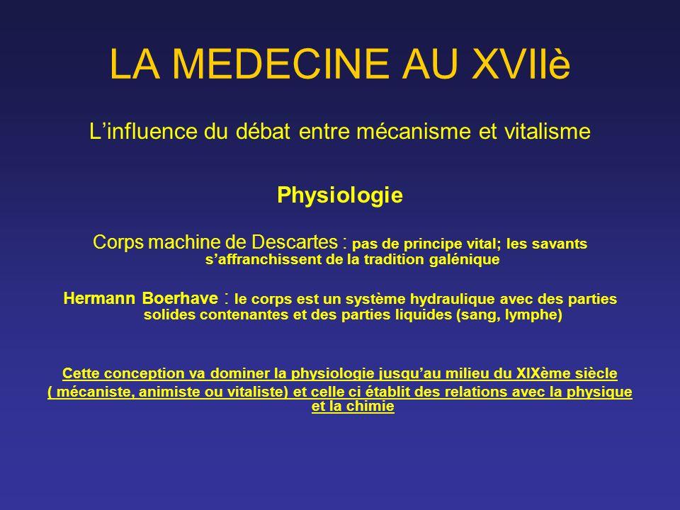 LA MEDECINE AU XVIIè Linfluence du débat entre mécanisme et vitalisme Physiologie Corps machine de Descartes : pas de principe vital; les savants saff