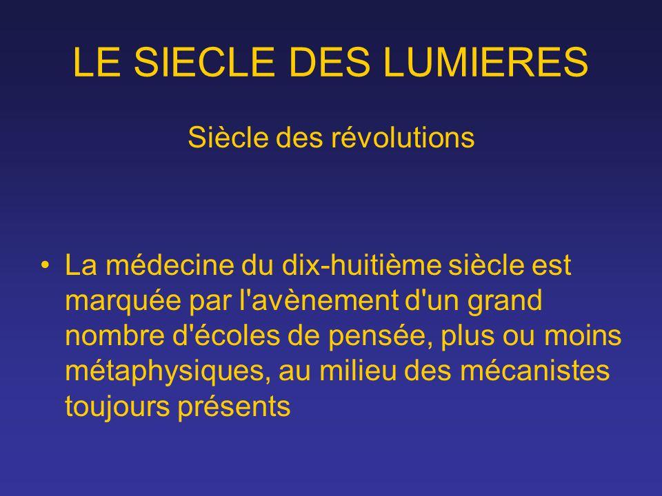 LE SIECLE DES LUMIERES Siècle des révolutions La médecine du dix-huitième siècle est marquée par l'avènement d'un grand nombre d'écoles de pensée, plu