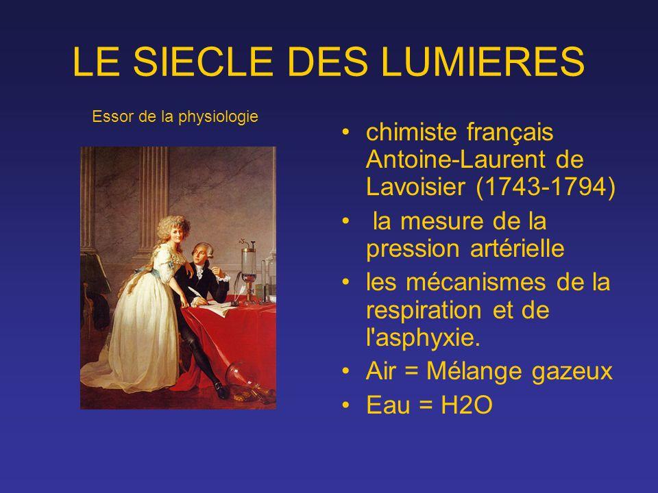 LE SIECLE DES LUMIERES chimiste français Antoine-Laurent de Lavoisier (1743-1794) la mesure de la pression artérielle les mécanismes de la respiration
