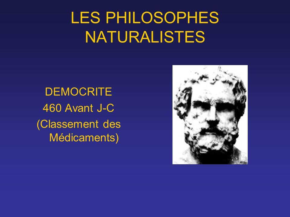LES PHILOSOPHES NATURALISTES DEMOCRITE 460 Avant J-C (Classement des Médicaments)