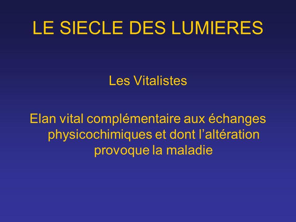 LE SIECLE DES LUMIERES Les Vitalistes Elan vital complémentaire aux échanges physicochimiques et dont laltération provoque la maladie