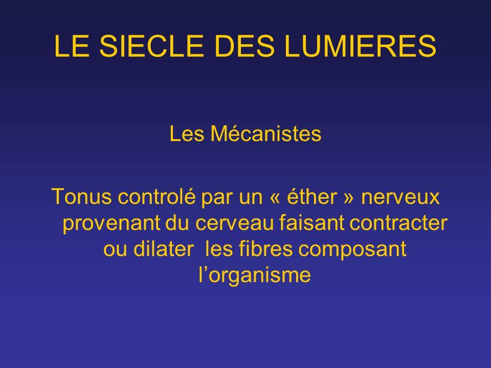LE SIECLE DES LUMIERES Les Mécanistes Tonus controlé par un « éther » nerveux provenant du cerveau faisant contracter ou dilater les fibres composant