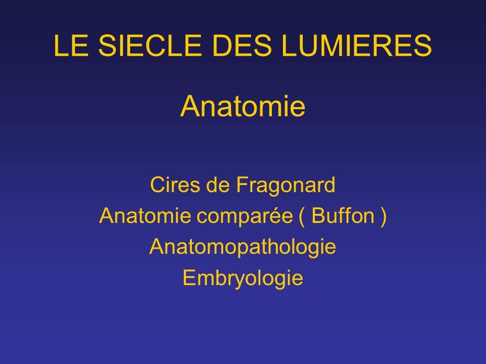 LE SIECLE DES LUMIERES Anatomie Cires de Fragonard Anatomie comparée ( Buffon ) Anatomopathologie Embryologie