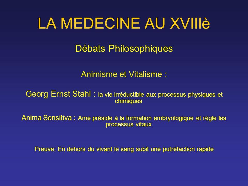 LA MEDECINE AU XVIIIè Débats Philosophiques Animisme et Vitalisme : Georg Ernst Stahl : la vie irréductible aux processus physiques et chimiques Anima