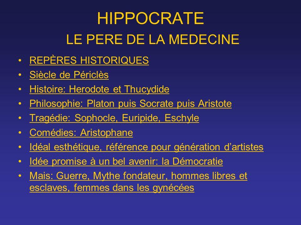 HIPPOCRATE LE PERE DE LA MEDECINE REPÈRES HISTORIQUES Siècle de Périclès Histoire: Herodote et Thucydide Philosophie: Platon puis Socrate puis Aristot