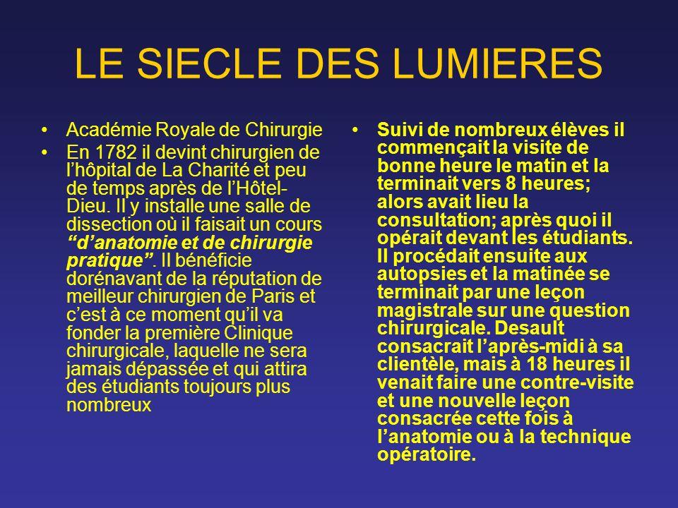 LE SIECLE DES LUMIERES Académie Royale de Chirurgie En 1782 il devint chirurgien de lhôpital de La Charité et peu de temps après de lHôtel- Dieu. Il y