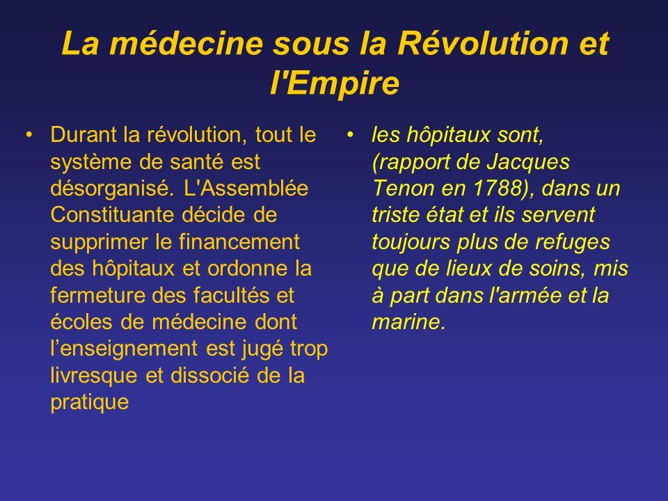 La médecine sous la Révolution et l'Empire Durant la révolution, tout le système de santé est désorganisé. L'Assemblée Constituante décide de supprime