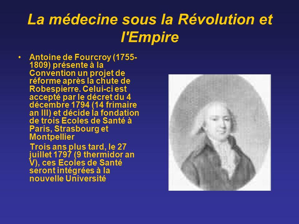 La médecine sous la Révolution et l'Empire Antoine de Fourcroy (1755- 1809) présente à la Convention un projet de réforme après la chute de Robespierr