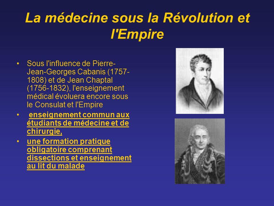 La médecine sous la Révolution et l'Empire Sous l'influence de Pierre- Jean-Georges Cabanis (1757- 1808) et de Jean Chaptal (1756-1832), l'enseignemen