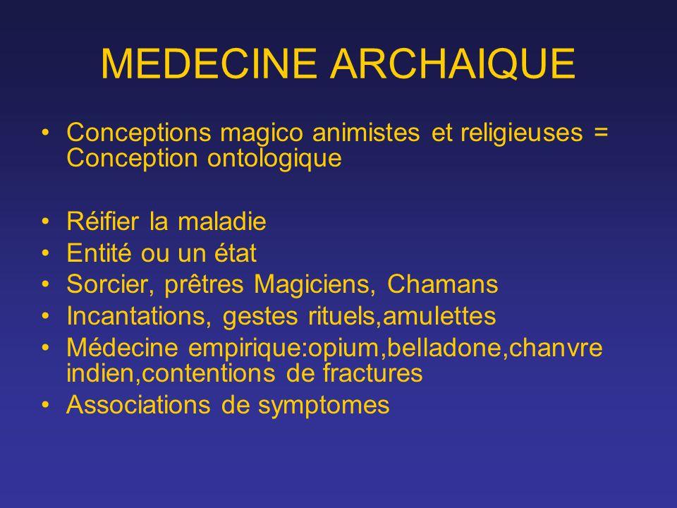 MEDECINE ARCHAIQUE Conceptions magico animistes et religieuses = Conception ontologique Réifier la maladie Entité ou un état Sorcier, prêtres Magicien