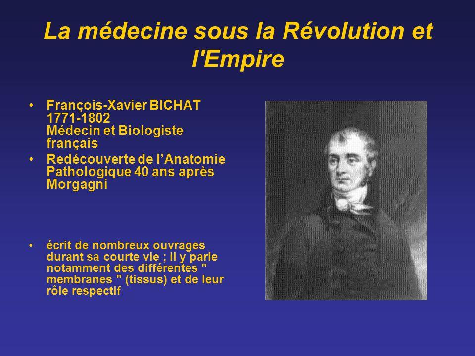 La médecine sous la Révolution et l'Empire François-Xavier BICHAT 1771-1802 Médecin et Biologiste français Redécouverte de lAnatomie Pathologique 40 a