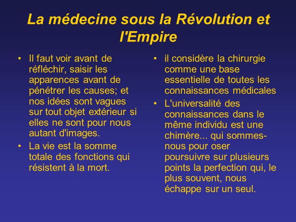 La médecine sous la Révolution et l'Empire Il faut voir avant de réfléchir, saisir les apparences avant de pénétrer les causes; et nos idées sont vagu