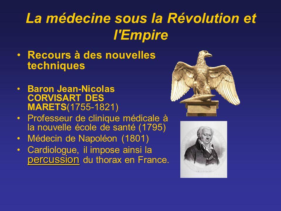 La médecine sous la Révolution et l'Empire Recours à des nouvelles techniques Baron Jean-Nicolas CORVISART DES MARETS(1755-1821) Professeur de cliniqu