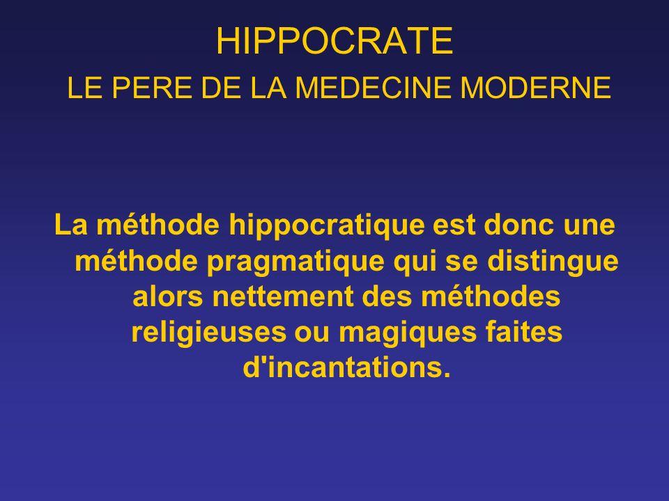 HIPPOCRATE LE PERE DE LA MEDECINE MODERNE La méthode hippocratique est donc une méthode pragmatique qui se distingue alors nettement des méthodes reli