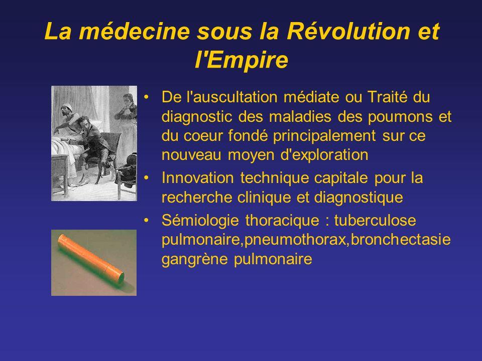 La médecine sous la Révolution et l'Empire De l'auscultation médiate ou Traité du diagnostic des maladies des poumons et du coeur fondé principalement