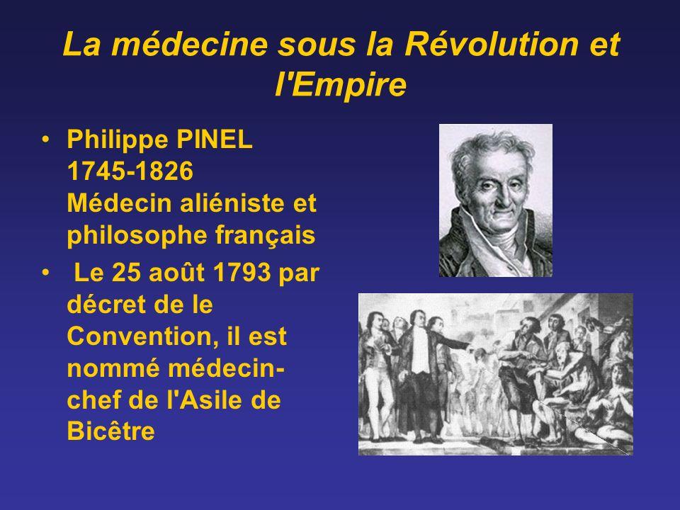 La médecine sous la Révolution et l'Empire Philippe PINEL 1745-1826 Médecin aliéniste et philosophe français Le 25 août 1793 par décret de le Conventi
