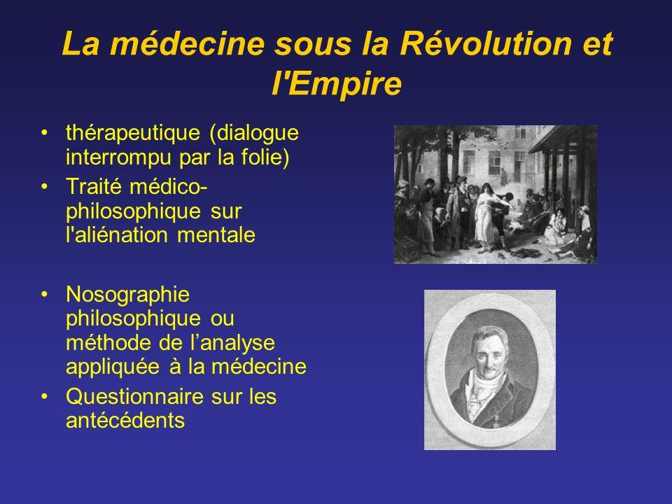 La médecine sous la Révolution et l'Empire thérapeutique (dialogue interrompu par la folie) Traité médico- philosophique sur l'aliénation mentale Noso