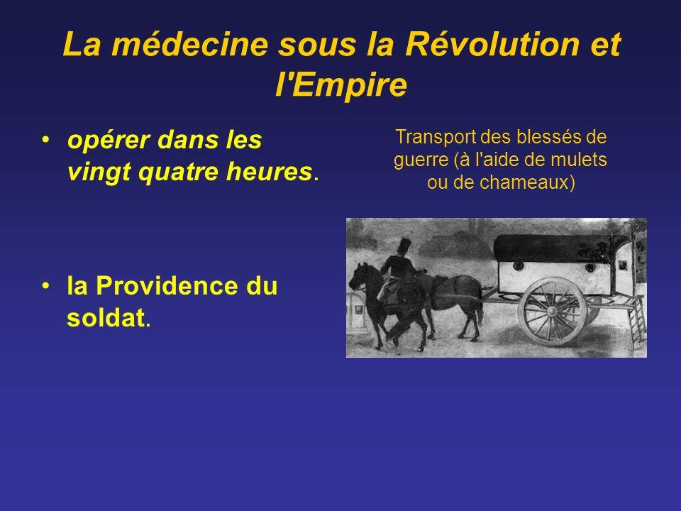 La médecine sous la Révolution et l'Empire opérer dans les vingt quatre heures. la Providence du soldat. Transport des blessés de guerre (à l'aide de