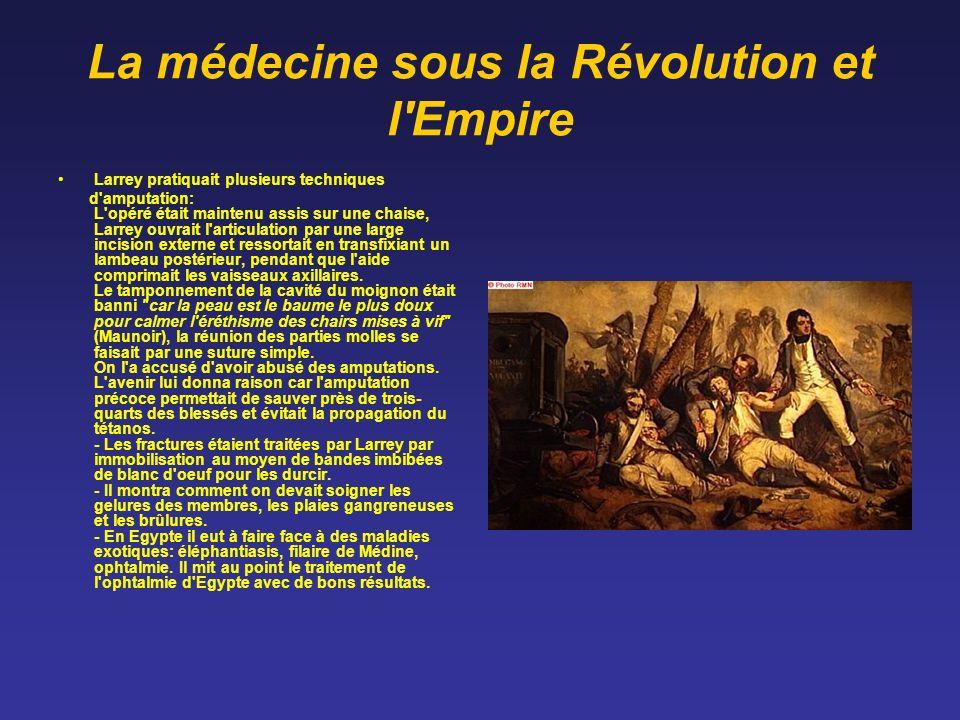 La médecine sous la Révolution et l'Empire Larrey pratiquait plusieurs techniques d'amputation: L'opéré était maintenu assis sur une chaise, Larrey ou