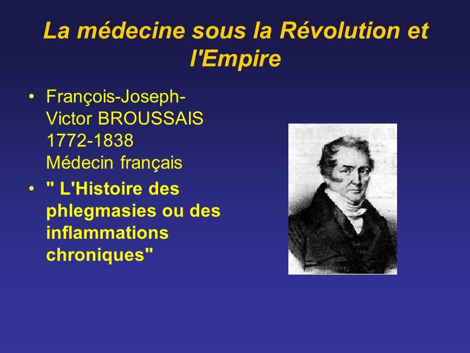 La médecine sous la Révolution et l'Empire François-Joseph- Victor BROUSSAIS 1772-1838 Médecin français