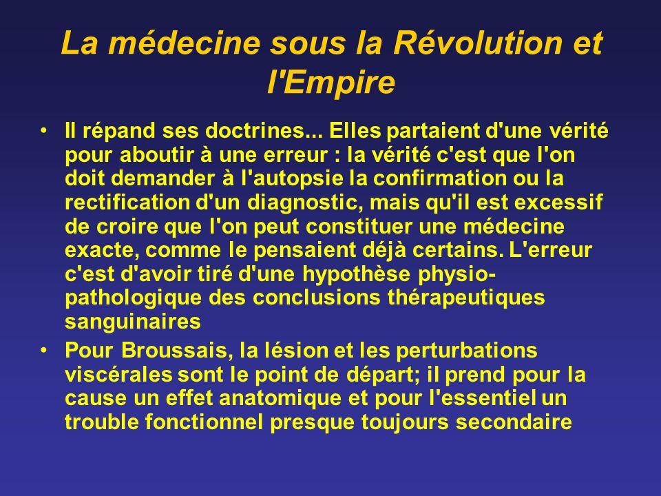 La médecine sous la Révolution et l'Empire Il répand ses doctrines... Elles partaient d'une vérité pour aboutir à une erreur : la vérité c'est que l'o