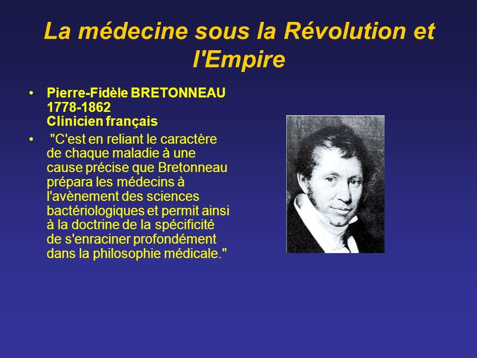 La médecine sous la Révolution et l'Empire Pierre-Fidèle BRETONNEAU 1778-1862 Clinicien français