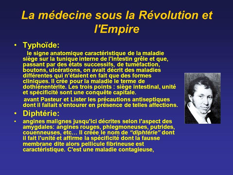 La médecine sous la Révolution et l'Empire Typhoïde: le signe anatomique caractéristique de la maladie siège sur la tunique interne de l'intestin grêl