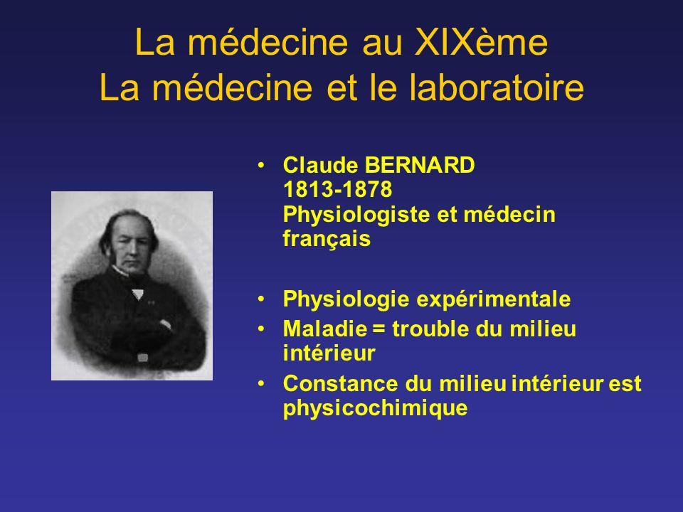 La médecine au XIXème La médecine et le laboratoire Claude BERNARD 1813-1878 Physiologiste et médecin français Physiologie expérimentale Maladie = tro