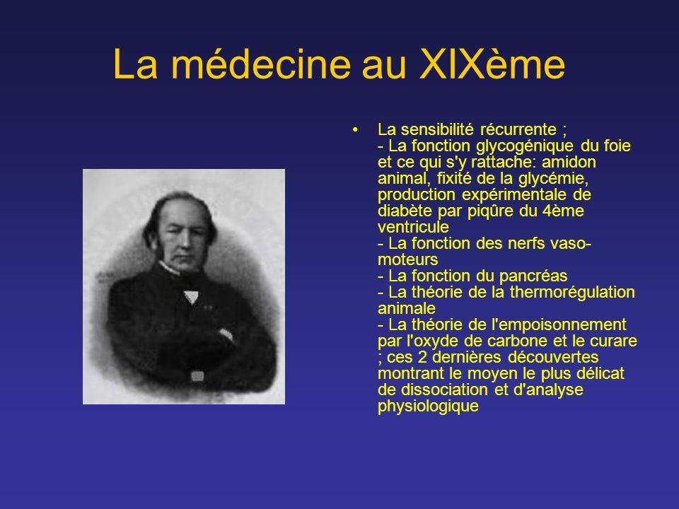 La médecine au XIXème La sensibilité récurrente ; - La fonction glycogénique du foie et ce qui s'y rattache: amidon animal, fixité de la glycémie, pro