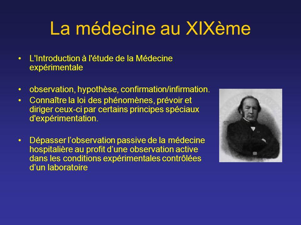 La médecine au XIXème L'Introduction à l'étude de la Médecine expérimentale observation, hypothèse, confirmation/infirmation. Connaître la loi des phé
