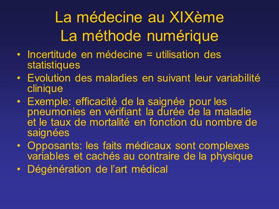 La médecine au XIXème La méthode numérique Incertitude en médecine = utilisation des statistiques Evolution des maladies en suivant leur variabilité c