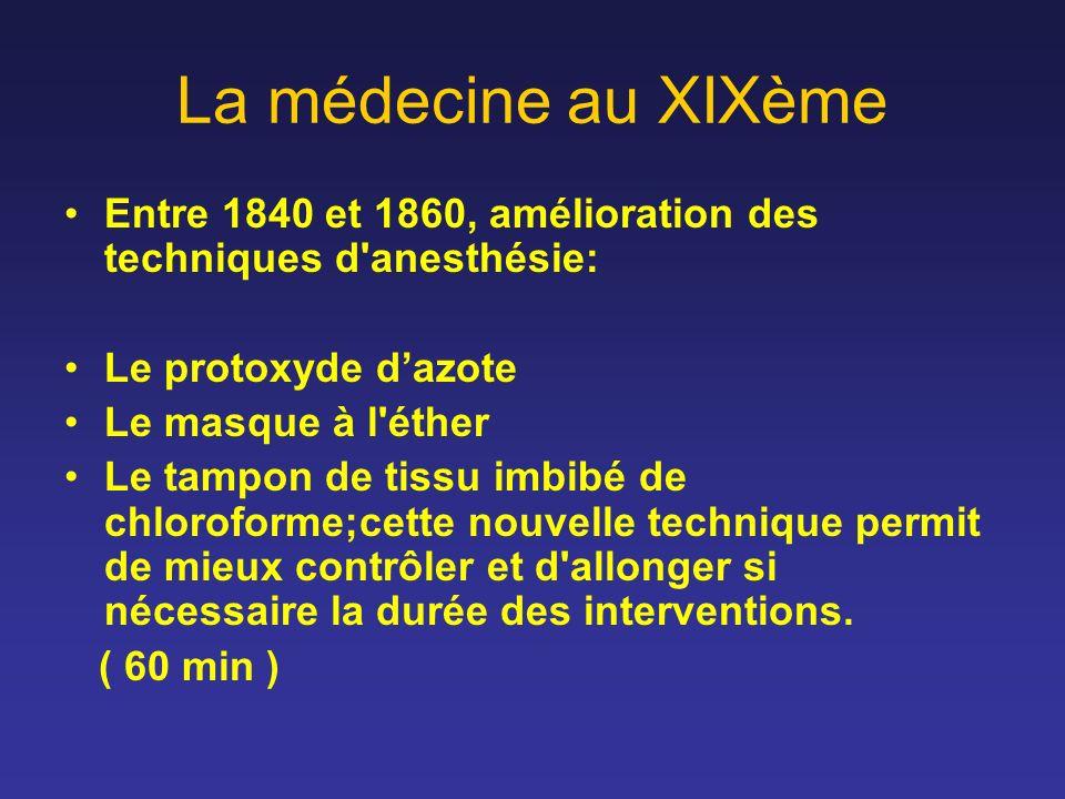 La médecine au XIXème Entre 1840 et 1860, amélioration des techniques d'anesthésie: Le protoxyde dazote Le masque à l'éther Le tampon de tissu imbibé