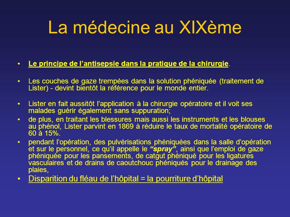 La médecine au XIXème Le principe de lantisepsie dans la pratique de la chirurgie. Les couches de gaze trempées dans la solution phéniquée (traitement