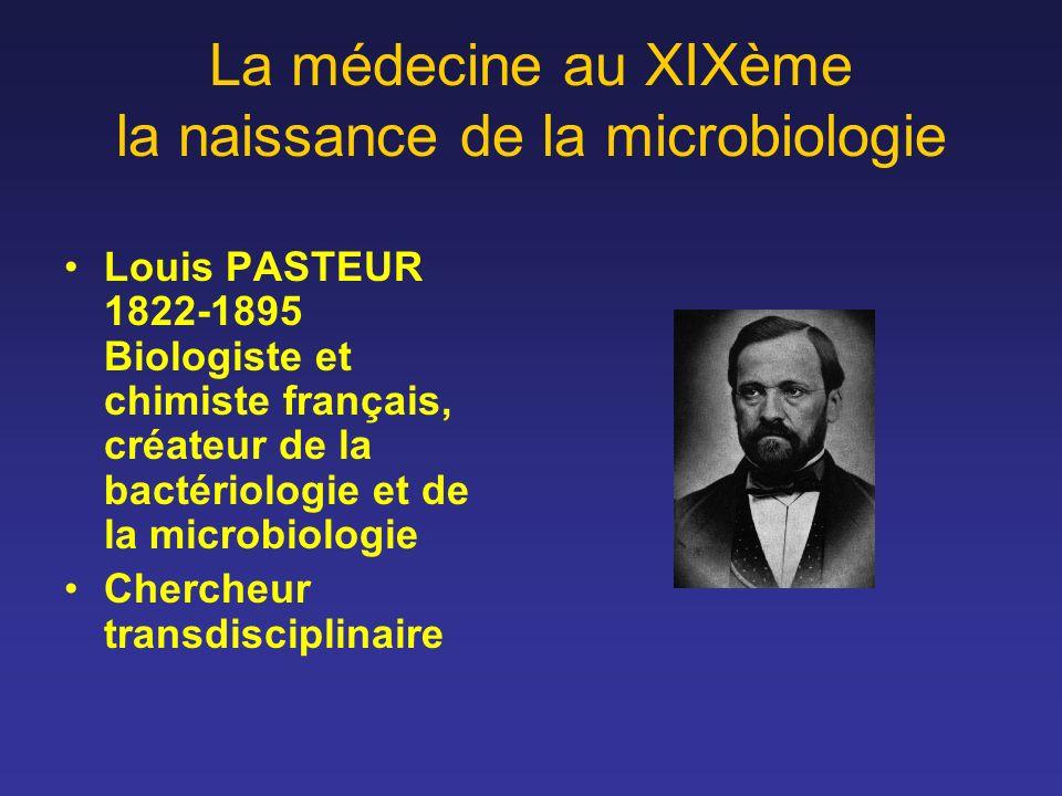 La médecine au XIXème la naissance de la microbiologie Louis PASTEUR 1822-1895 Biologiste et chimiste français, créateur de la bactériologie et de la