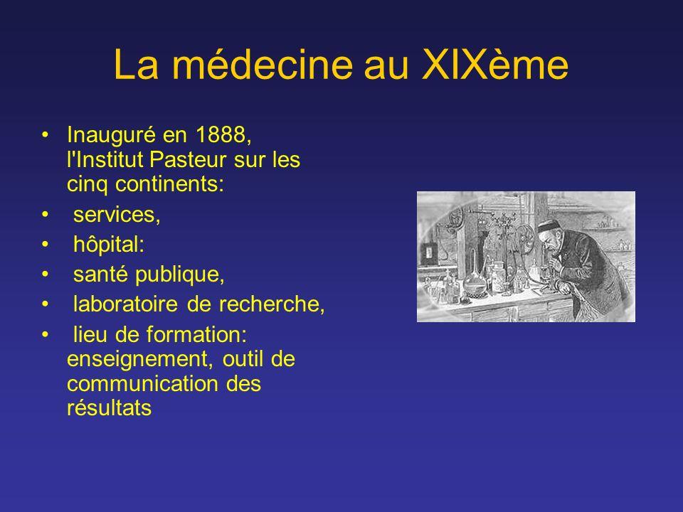 La médecine au XIXème Inauguré en 1888, l'Institut Pasteur sur les cinq continents: services, hôpital: santé publique, laboratoire de recherche, lieu