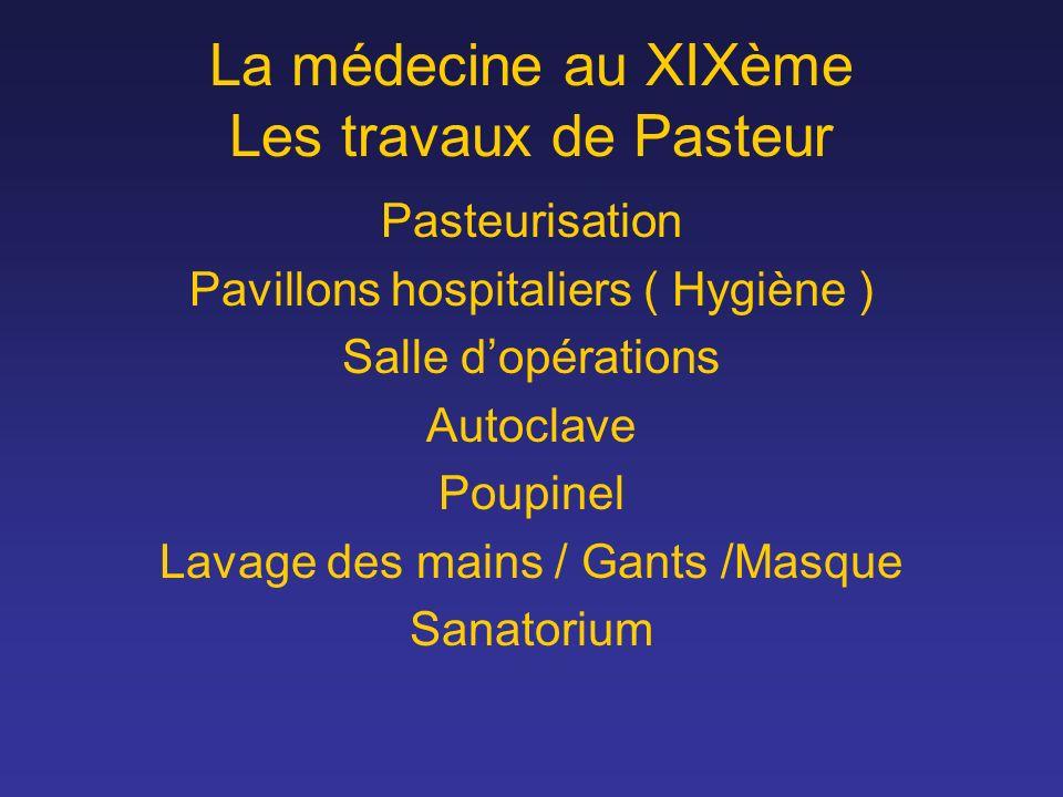 La médecine au XIXème Les travaux de Pasteur Pasteurisation Pavillons hospitaliers ( Hygiène ) Salle dopérations Autoclave Poupinel Lavage des mains /
