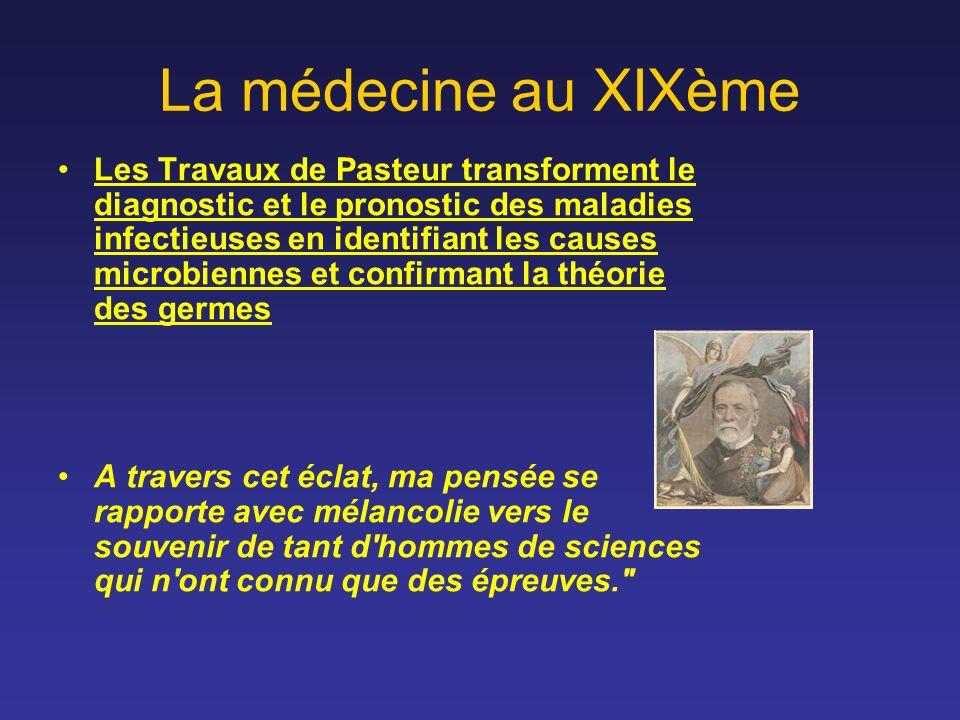 La médecine au XIXème Les Travaux de Pasteur transforment le diagnostic et le pronostic des maladies infectieuses en identifiant les causes microbienn