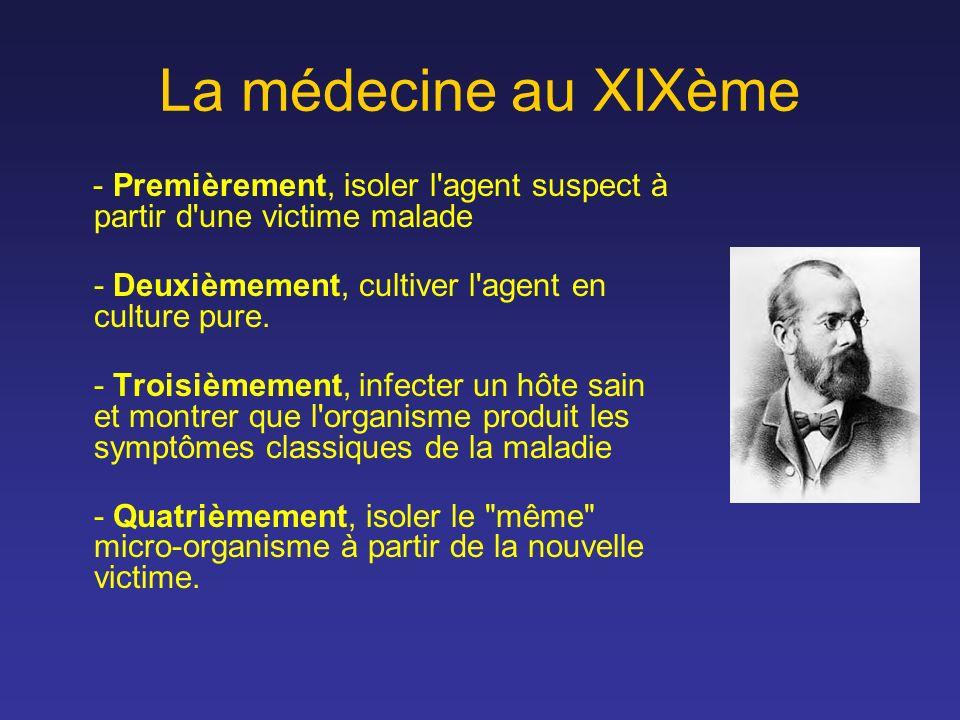 La médecine au XIXème - Premièrement, isoler l'agent suspect à partir d'une victime malade - Deuxièmement, cultiver l'agent en culture pure. - Troisiè