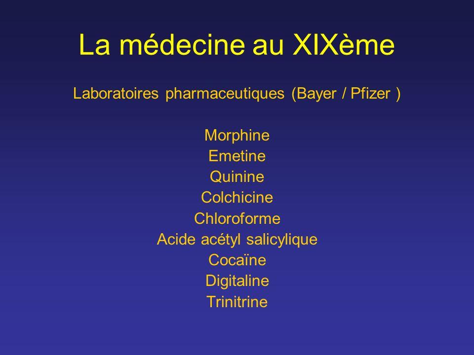 La médecine au XIXème Laboratoires pharmaceutiques (Bayer / Pfizer ) Morphine Emetine Quinine Colchicine Chloroforme Acide acétyl salicylique Cocaïne