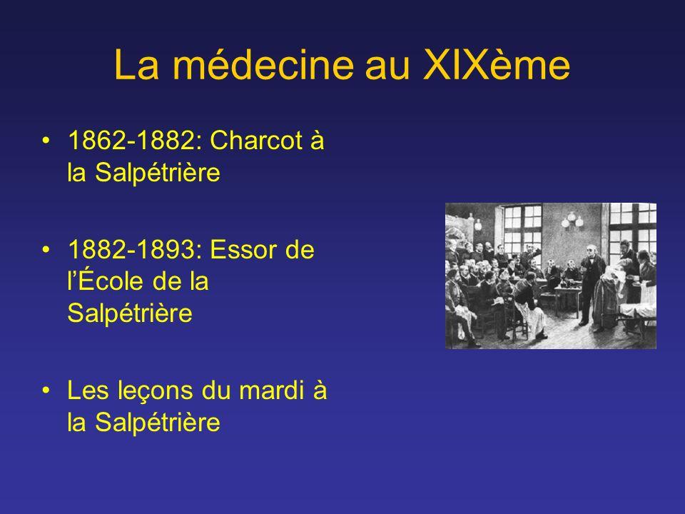 La médecine au XIXème 1862-1882: Charcot à la Salpétrière 1882-1893: Essor de lÉcole de la Salpétrière Les leçons du mardi à la Salpétrière