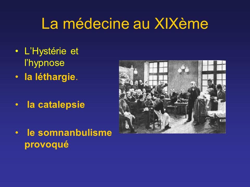 La médecine au XIXème LHystérie et lhypnose la léthargie. la catalepsie le somnanbulisme provoqué
