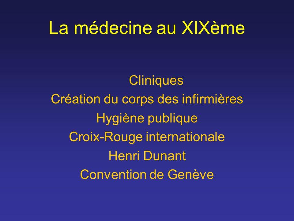 La médecine au XIXème Cliniques Création du corps des infirmières Hygiène publique Croix-Rouge internationale Henri Dunant Convention de Genève