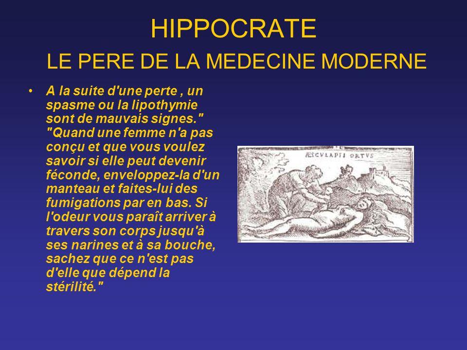 HIPPOCRATE LE PERE DE LA MEDECINE MODERNE A la suite d'une perte, un spasme ou la lipothymie sont de mauvais signes.