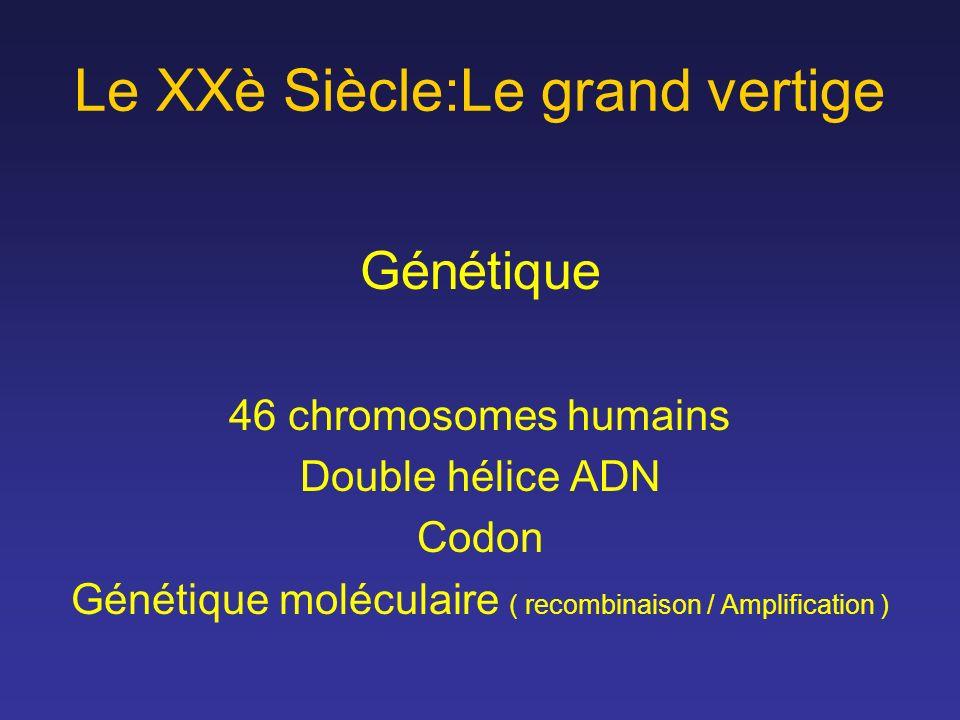 Le XXè Siècle:Le grand vertige Génétique 46 chromosomes humains Double hélice ADN Codon Génétique moléculaire ( recombinaison / Amplification )
